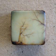 encaustic on Handmade Cast Adobe Tile  Bare Tree by langartworks, $30.00