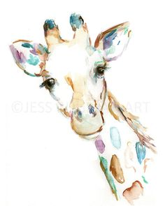 Joshua the Giraffe Watercolor Print, Print of Giraffe, Watercolor Giraffe, Watercolor Animal Print, Giraffe Painting, Nursery Art by JessBuhmanArt on Etsy