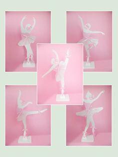 Enfeite de mesa em MDF com bailarinas recortadas e decoradas.  Ideal para centro de mesa de convidados ou enfeite de mesa.  Pode ser pintada e decorada em outras cores.