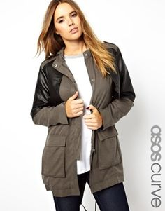 ASOS CURVE Exclusive Premium Parka Jacket With Leather Detailing