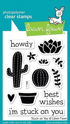 "LAWN FAWN: Stuck on You (3"" x 4"" Clear Acrylic Stamp Set) This package contains Stuck on You: thirteen clear stamps Approximate stamp sizes: - [tall cactus] 1""W x 1 5/8""H - [round cactus] 3/4""W x 13/1"