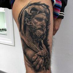 Shaded Guys Black And Grey Ink Hercules Thigh Tattoos