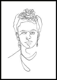 Frida Kahlo Line Art Poster in the group Posters & Prints / Illustrations at Desenio AB Modern Art Prints, Wall Art Prints, Poster Prints, Gold Poster, Blue Poster, Love Posters, Shape Posters, Art Posters, Art Abstrait Ligne