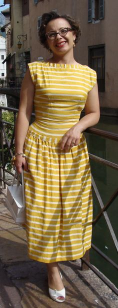 Yellow and white summer dress