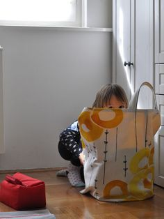 Organizing kids room - extra large fabric toy storage. Ikea STOCKHOLM fabric inspiration Ikea Fabric, Organising Ideas, Darning, Buckets, Paper Shopping Bag, Projects To Try, Home Appliances, Inspiration, Sewing