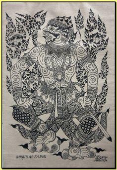 Thai traditional art of Hanuman by silkscreen printing on cotton (2)