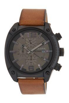 Image of Diesel Men's Overflow Leather Strap Watch