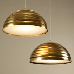 1960s Pair of Large Brass Pendant Lights with Glass Diffuser