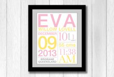 Birth Announcement Wall Art with Baby's Stats You by brandnoonan, $25.00