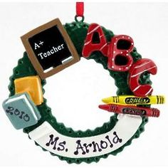 Personalized Teacher's Christmas Wreath Ornament $16.99