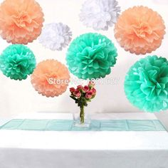 18pcs Mixed 3Size White Peach Mint Tissue Paper Pom Poms Flowers Wedding Favor Party Holidays Hanging Decoration 8'' 10'' 12''