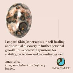 Leopard Skin Jasper assists in self-healing and spiritual discovery to further personal growth. It is a powerful gemstone for stability, protection and grounding as well. #jasper #crystals #healing