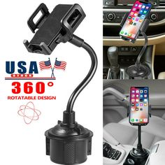Universal Car Mount Cup Cradle Holder Adjustable Gooseneck For Cell Phone GPS US - Ideas of Car Phone Holder Dashboard Phone Holder, Iphone Holder, Cell Phone Holder, Car Mount Holder, Car Holder, Car Best, Samsung 9, Air Vent Phone Holder, Cell Phone Mount