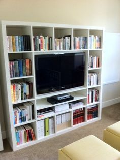 http://www.ikeahackers.net/2011/06/wall-mounting-40-tv-in-expedit.html For craftroom.