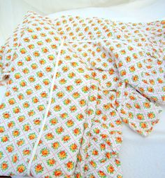 vintage 60's bedspread.seersucker.orange by tessiemay on Etsy