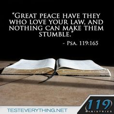 Great peace have they who love your law, and nothing can make them stumble. Psalms 119:165