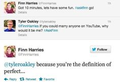 Finn Harries and Tyler Oakley tweet