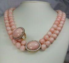 Eccezionale Rosa Corallo e Diamanti Set (Collana e Orecchini) layaway benvenuto!
