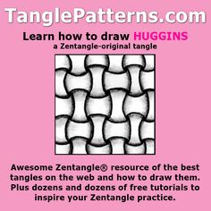 Step-by-step instructions to learn how to draw the Zentangle-original tangle pattern: Huggins