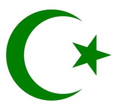 A symbol of Islam, the star and crescent, in a dark green. - Created by Kbolino in en:Inkscape/Wikimedia Commons