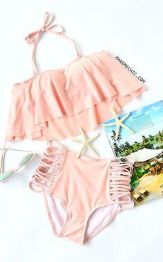 Pink Off The Shoulder Criss Cross High Waist Bikini Set #highwaistedbikinis