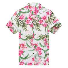 Premium Made in Hawaii Men's Hawaiian Shirt Aloha Shirt Floral White Pink Hawaiian Print Shirts, Hawaiian Shorts, Mens Hawaiian Shirts, Aloha Shirt, Large Mens Shirts, Floral Print Shirt, Floral Shirts, Textile Pattern Design, Bowling Shirts
