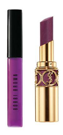 -Bobbie Brown Sheer Color Lip Gloss (Ultra Violet) $23  -Yves Saint Laurent Rouge Volupte Perle in Spellbinding Violet $34