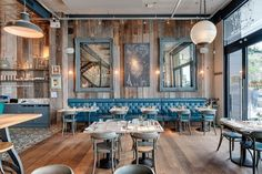 Factorylux extra-large industrial shades ight up the uber cool Le bistrot pierre restaurant in Torquay, Devon.