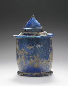 Inkwell and Cover 1st century Glass Dimensions: Object (with lid): H: 9.5 x Diam.: 6.3 cm (3 3/4 x 2 1/2 in.)