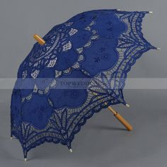 Blue Embroidery Wedding Umbrella with Wood Handle