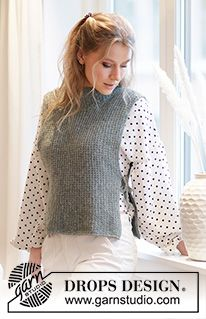 City Cover / DROPS - Free knitting patterns by DROPS Design Knitted vest in DROPS Sky. The piece is worked with textured pattern, high neck and openings in the sides. Sizes S - XXXL. Knitting Patterns Free, Knit Patterns, Free Knitting, Baby Knitting, Knit Cardigan Pattern, Knitted Poncho, Drops Design, Sport Weight Yarn, Crochet Diagram