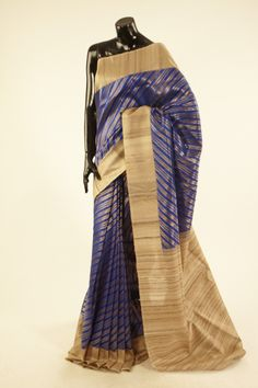 Banarsi- tussar dark marine blue saree with blouse