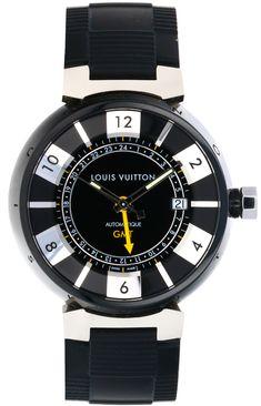 LOUIS VUITTON TAMBOUR GMT #Q113K Fancy Watches, Pre Owned Watches, Luxury Watches, Rolex Watches, Louis Vuitton Watches, Tambour, Breitling, Naples, Closet