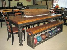 Wow! Bowling alley lane table and ball rack bench!