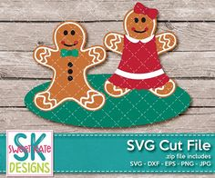 Gingerbread Couple SVG DXF EPS PNG JPG {NEW UNTIL 12/12/17} - Sweet Kate Designs