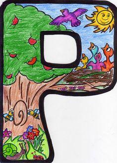 Del Album Picasa material d´infantil Alphabet Letters Design, Alphabet Style, Alphabet And Numbers, Lettering Design, Hand Lettering, Art Drawings For Kids, Art Lessons Elementary, Classroom Decor, Coloring Pages