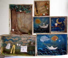 Papier mache dioramas by Marcella Ferreira Shadow Box Kunst, Shadow Box Art, Matchbox Crafts, Matchbox Art, Art For Kids, Crafts For Kids, Arts And Crafts, Atelier D Art, Art Club