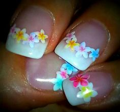 Gel nails, French manicure, tropical flowers. Nail design.