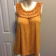 """⭐️August Silk Ruffle Tank AUGUST SILK Women's L Large Mustard Yellow Scoop Neck Ruffle Tank  **Small snag hole on the top of sleeve All measurements are laid flat. Armpit to armpit- 18"""" Length- 22.5"""" august silk Tops Tank Tops"""