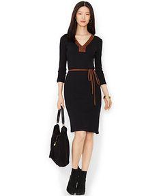 Lauren Ralph Lauren Faux-Suede-Trim Belted Dress