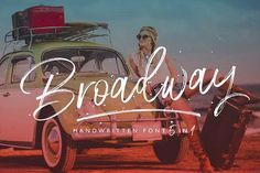Broadway Font by Ivan Rosenberg.  Is ideal for t-shirts, magazines, phone covers, social media, restaurant menus, greeting cards, invitations, weddings, headers and many more.  This brush font comes with a complete set of lowercase and uppercase characters, a large range of punctuation ligatures, numerals and and multilingual support.