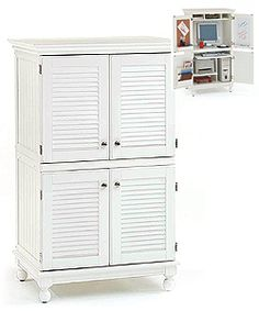 Computer Armoire with Distressed White Finish | Overstock™ Shopping - Great Deals on Desks