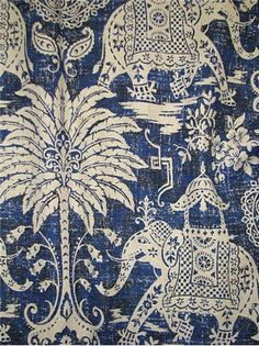 Maharaja Indigo - Vintage Southeast Asian elephant print on heavy linen weave fabric. Perfect for drapery or furniture upholstery fabric. Textiles, Textile Patterns, Textile Prints, Blue And White Fabric, Blue Fabric, Chinoiserie Fabric, Elephant Fabric, Passementerie, Motif Floral
