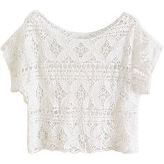 White Scoop Neckline T-shirt with Crochet Lace Design
