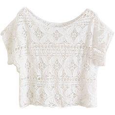 White Scoop Neckline T-shirt with Crochet Lace Design