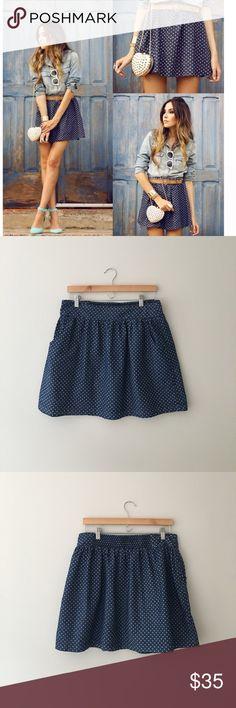 Levi's Denim Polkadot Skirt RARE! Classic soft chambray denim with white polka dots makes up this fun Levi skirt. 2 front side pockets. Elastic back for give. 100% cotton. Size Large. EUC!! Levi's Skirts Circle & Skater