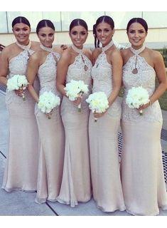 Luxurious Lange Brautjungfernkleider Günstig Neckholder Meerjungfrau kleider Für Brautjungfern