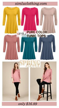Simlu Womens Tunic Tops For Leggings reg and Plus Size 3/4 Sleeve Tunic Shirt-USA  #simlu #clothing #tunic #spring