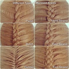 Different types of mermaid braids For those who don't know the difference, a mermaid braid has a different sectioning pattern than a regular French or Dutch braid, or any variations of these, as show here. -Bre