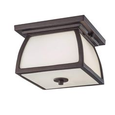 Murray Feiss OL8513-LED Wright House 2 Light LED Outdoor Flush Mount Ceiling Fix Oil Rubbed Bronze Outdoor Lighting Ceiling Fixtures Flush Mount